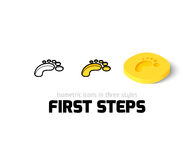 First steps icon in different style. First steps icon, vector symbol in flat, outline and isometric style Royalty Free Stock Image