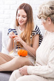 First steps in knitting with the best teacher Stock Photography
