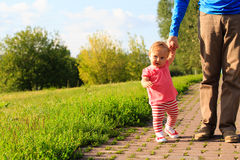 First steps of little girl in summer park Stock Images