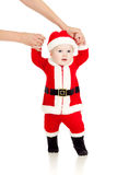 First steps of Santa claus child Stock Photography