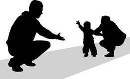 First steps silhouette. Family with baby on pathway vector illustration Stock Images