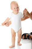First steps of small baby Stock Photos