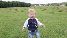 First steps. Smiling and laughing. stock video footage