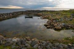 The first stone harbor of Russia on Bolshoy Zayatsky Island. Solovetsky archipelago, White sea, Russia royalty free stock images
