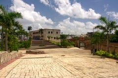 The first street in America. View on palace Alkasap-de-Kolon (Dominican republic, Santo-Domingo Royalty Free Stock Photos