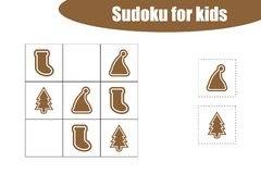 First Sudoku game with christmas pictures - gingerbread for children, easy level, education game for kids, preschool vector illustration