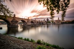 The first sun over Charles Bridge royalty free stock photo