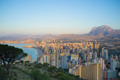 First  sunrays on Benidorm Royalty Free Stock Photos
