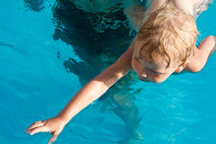 First swimming lessons Royalty Free Stock Image