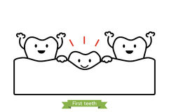 First teeth or baby tooth - cartoon vector outline style. First teeth or baby tooth - dental cartoon vector outline style, cute character for design Royalty Free Stock Photos
