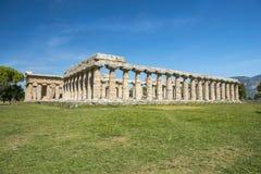 First temple of Hera in Poseidonia Paestum, Campania, Italy. First temple of Hera, ancient Greek temple in the Doric order in Poseidonia Paestum, Campania, Italy stock photos