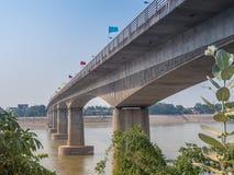 Thai–Lao Friendship Bridge. Vientiane,  Laos. First Thai–Lao Friendship Bridge over Mekong River with blues sky background, taken from Laos. Lan Xang Hom Stock Images