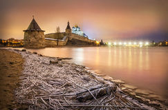 First there was the frost. Frozen River at the Pskov fortress in night light Stock Photo