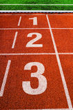 The first three places at the finish line Royalty Free Stock Photography