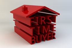 First Time Buyer. The words First Time Buyer arranged under a roof to look like a house painted in red and set against a white background Stock Photo