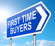 First time buyer concept. Illustration depicting a sign with a first time buyers concept Royalty Free Stock Photos