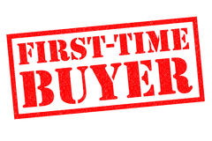 FIRST-TIME BUYER. Red Rubber Stamp over a white background Royalty Free Stock Images