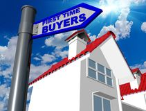 First time buyers home house blue road sign - 3d rendering. First time buyers home house blue road sign sky sun - 3d rendering Royalty Free Stock Photography