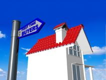 First time buyers home house blue road sign - 3d rendering Stock Photos