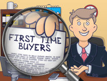 First Time Buyers through Magnifier. Doodle Design. Officeman Showing Text on Paper First Time Buyers. Closeup View through Lens. Colored Modern Line Stock Image