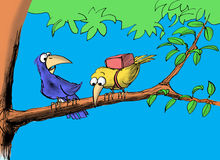 First Time. Cartoon illustration of a bird dismayed the other bird is afraid to fly Stock Photography