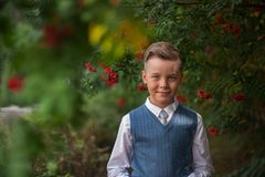 The first time in first class. Happy schoolboy at school background stock image