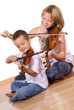 First time practicing the violin Stock Photos