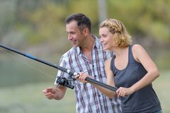 First time on rod fishing stock photos