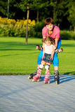First time in roller skates Royalty Free Stock Images