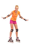 First time on rollerblade. Royalty Free Stock Images