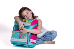 For the first time in school - little girl royalty free stock images