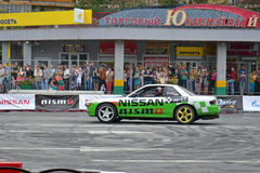 For the first time in Tyumen 18.08.2013 grandiose Nismo G-Drive Royalty Free Stock Photo
