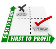 First to Market or Profit Words Marix Business Strategy Successf Royalty Free Stock Images