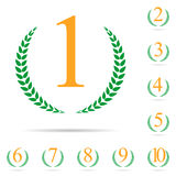 From First to Ten Place Laurel Design Label Set Vector Illustrat Stock Photo