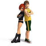 First Toon Love. Young Toon Couple in First Love Royalty Free Stock Image