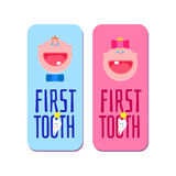 First tooth for boys and girls banners. Baby first tooth for boys and girls banners with first tooth greetings Icon. Kids smile tooth with crown dental emblem Stock Photo