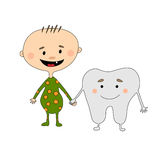 First tooth. Cartoon baby boy and Mr. First Tooth are holding hands. They are friends.  Vector illustration isolated on white background Stock Photos