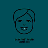 First tooth icon. Baby first tooth icon. Vector illustration in dark grey colour  on a green background. Medicine, health care and childhood concept Stock Photography