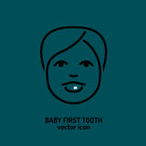 First tooth icon. Baby first tooth icon. Vector illustration in dark grey colour  on a green background. Medicine, healthcare and childhood concept Royalty Free Stock Photos