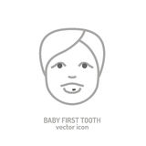 First tooth icon. Vector illustration in grey colour on a white background. Medicine, healthcareand and childhood concept Royalty Free Stock Photography