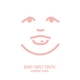 First tooth icon. Vector illustration in pink colour on a white background. Medicine, healthcare and childhood concept Royalty Free Stock Photos