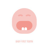 First tooth icon. Vector illustration in pink colour on a white background. Medicine, healthcareand and childhood concept Royalty Free Stock Photos