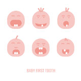 First tooth icons. Baby first tooth icons set. Vector illustration in pink colours isolated on a white background. Medicine, healthcareand childhood concept Royalty Free Stock Images