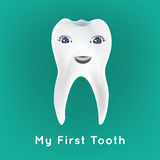 First tooth vector. Baby preliminary tooth vector illustration. Editable image on a blue background. Tooth character with a cute smiling face. Children teeth Royalty Free Stock Photo