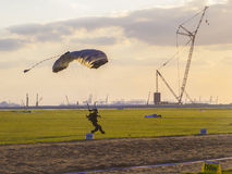 First touch the earth member of the international championship parachutism Stock Photos
