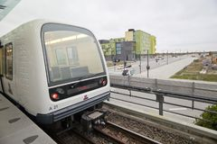 The first train car of the Copenhagen metro - M1 Stock Image
