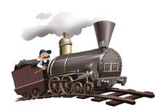 First train, first locomotive, engine. Man driving the first train, first locomotive Royalty Free Stock Photos