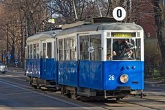 KRAKOW, POLAND - MARCH 28, 2017: Historical tram Konstal N. Was produced in 1948-1956 at the enterprise Konstal in Chorzow. stock photo