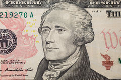 The first Treasury Secretary Alexander Hamilton on ten dollar bill. Money background ,ten dollar bills front side obverse. background of dollars, close up Stock Images