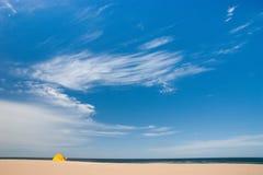 First turist on golden sand. Beach. Sea. Idill Stock Photography